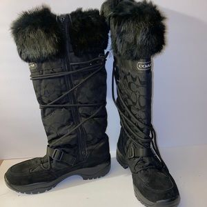 "Coach ""Solaris"" snow winter fur boots Size 9.5 Blk"